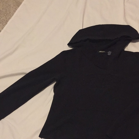 DKNY Active Tops - Pullover hoodie unfinished hems activewear
